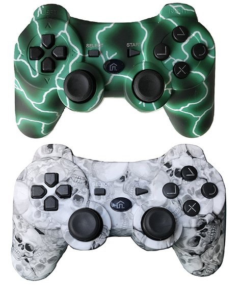 top popular Ps3 Controller Wireless Bluetooth Controller custom gamepad with 400mah battery inside (green and skull color) 2019
