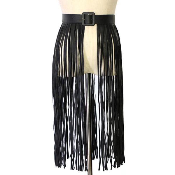 2018 New Designer sexy nero lungo in pelle frangia cintura nappa signore femminile Nightclub largo più corsetto corsetto per le donne vestito