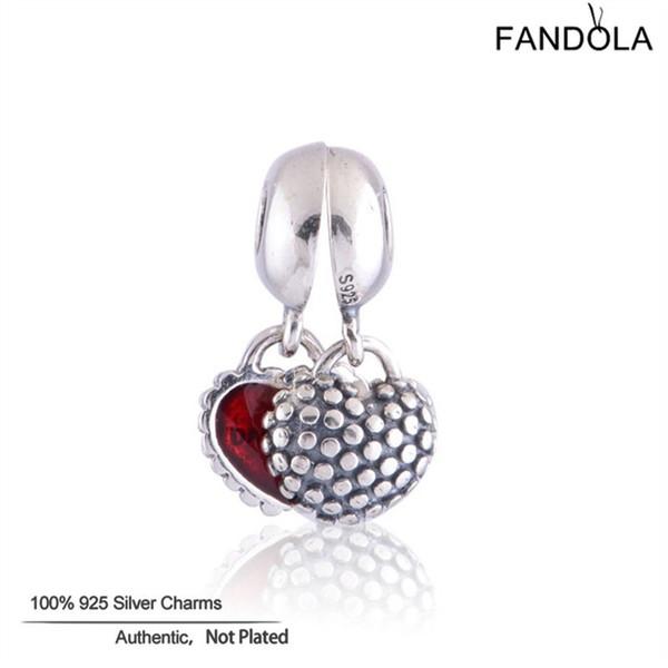 Fandola Pendants Charms 925 Sterling Silver Mother & Daughter Heart Beads for Jewelry Making Fits Women Diy Jewellery Bracelet