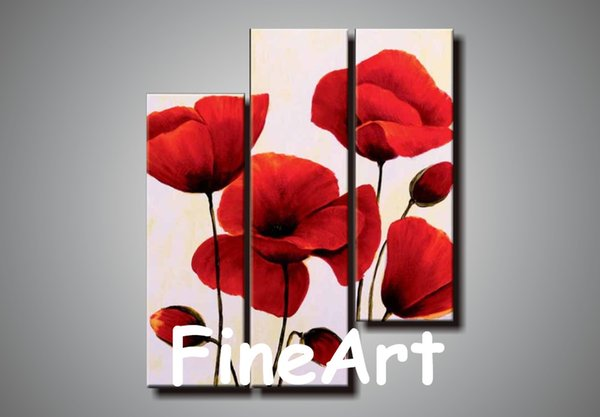 100% hand painted 3 panel canvas wall art abstract red flower oil painting cheap modern canvas art decorative painting