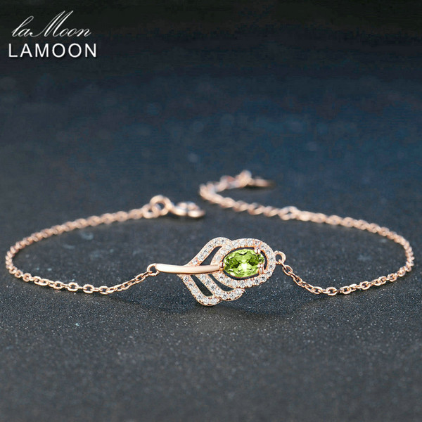 LAMOON Classic Leaf 100% Natural Oval Green Peridot Sterling Silver Jewelry Rose Gold Plated Chain Charm Bracelet S925 LMHI030Y1882701