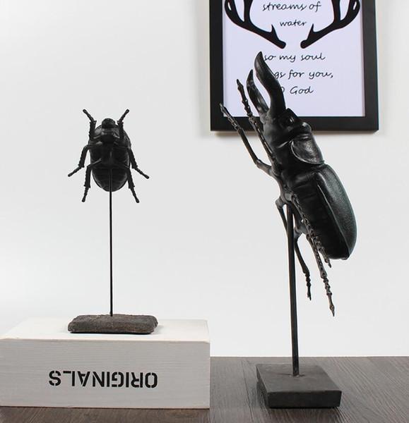 black creative resin beetle statue home decor crafts room decoration objects Simulation beetles figurine vintage office ornament