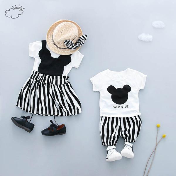 KINE PANDA Twins Sister Brother Toddler Bambini Neonata Vestiti del ragazzo t shirt + pantaloncini pantaloni o maglietta + ragazze vestono 0-1-2-3Y
