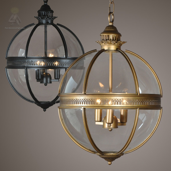 save off 26fc2 a9204 Ouruiju Vintage Loft Glass Globe Pendant Light Iron Round Ball Lamp Shade  Hanging Lamp Kitchen Luste Home E14 Lighting Fitting Discount Chandeliers  ...