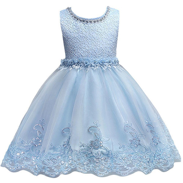 Cute Blue White Pink Bambini piccoli Flower Girl Dresses Princess Jewel Neck Short Abiti formali per matrimoni Prima comunione MC0817