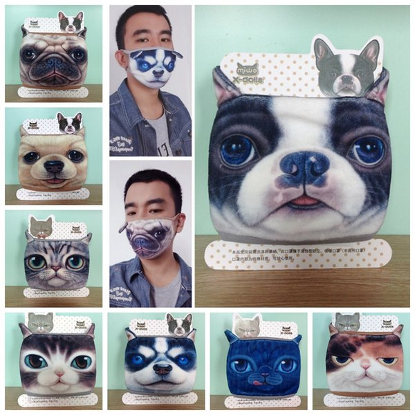 Nuovo modello Outdoor smask Moda cotone a prova di polvere Tenere caldo mezza maschera viso Cartoon Lovely Cat dog stampa maschere GGA335 100 PZ