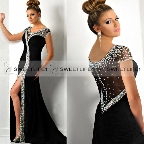 2018 High Side Slit Mermaid Evening Dresses with Scoop Crystals Neck Formal Open Back Long Prom Party Gowns Custom Made Stunning Cap Sleeves