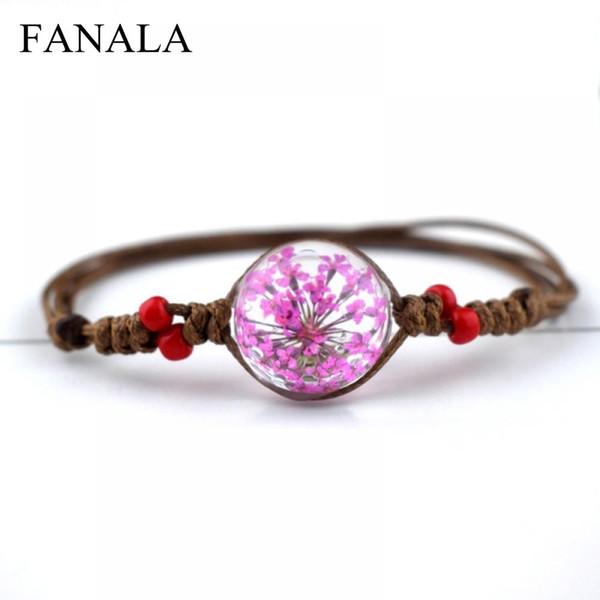 Bangle Vintage Charm Weave Dry Bracelets for Real Fashion Ball Handmade Boho Adjustable Bracelet Women Flower Glass