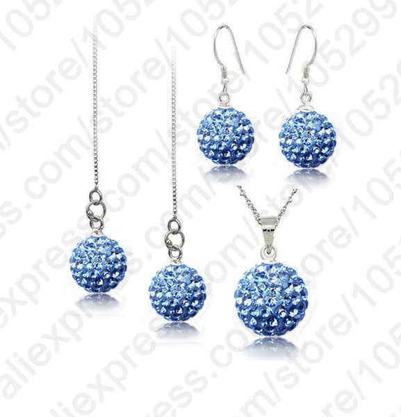 Giemi Big Promotion Jewelry Sets 925 Sterling Silver Austrian Crystal Disco Ball Beads Necklace Chains Earring Ear Thread Set