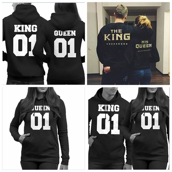 New fashion lovers clothes matching king queen fleece letter print casual pullover autumn spring couple sweater top quality