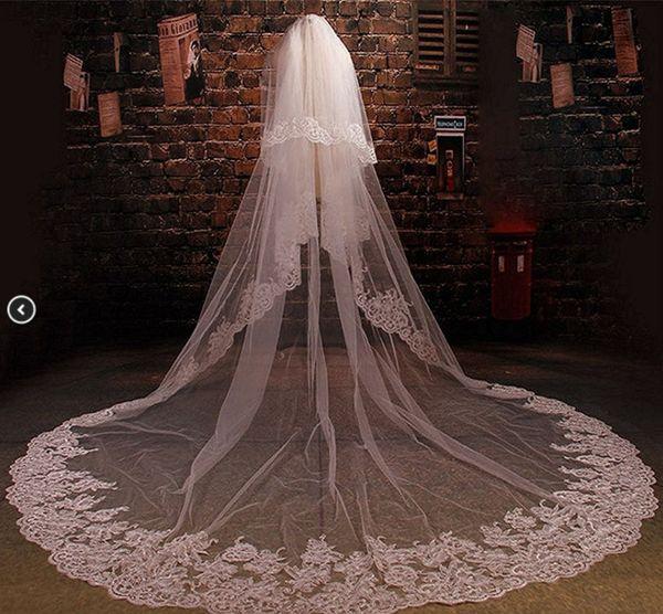 Yeni Varış Tek Katmanlı Katedral Uzunluğu Aplike Kenar Düğün Veils Ucuz Tül Malzeme Beyaz Fildişi Düğün Aksesuarları Ile Kristal