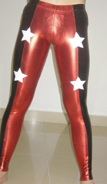 - Des détails sur les collants / pantalons de lutte métalliques zentai en lycra spandex costume Red Star taille S-XXL