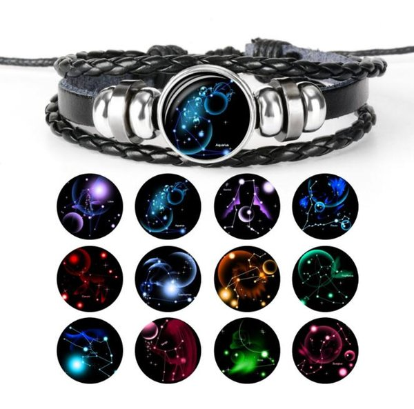 JLN Faux Leather Constellation Bracelet Charms Zodiac Sign Glass Cabochon Punk Jewelry For Man And Woman