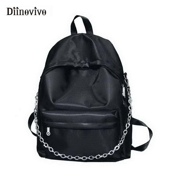 DIINOVIVO Fashion Women Backpack Designer Chain School Bag Female Oxford Big Korean Backpacfor Teen Girl Sac A Main WHDV0663