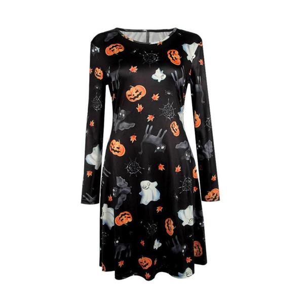 Fast Sending Gril Women Halloween Pumpkin Skull Print Long Sleeve Party Swing Mini Dress Halloween Party Prop Drop Shipping c816
