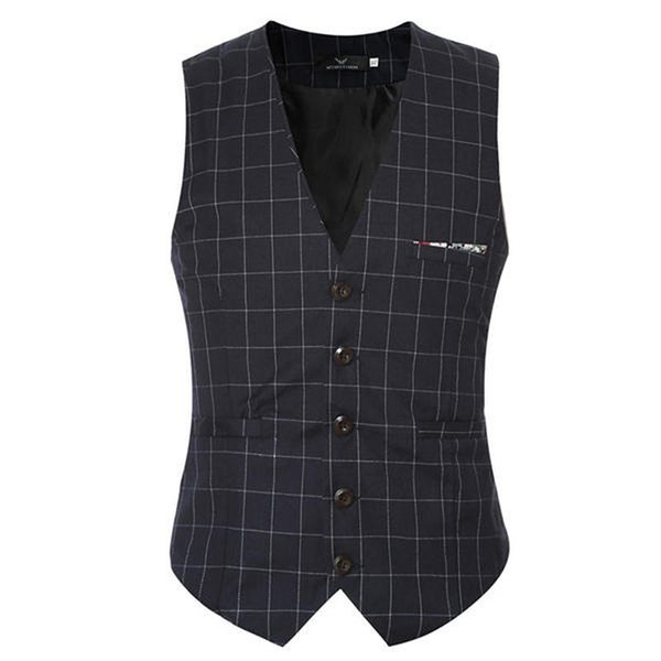 Hot sale Suit Vest Men 2018 men Suit Plaid Vests Slim Fit Brown Clothing Gentleman Business V-neck Collar Waistcoat M-5XL