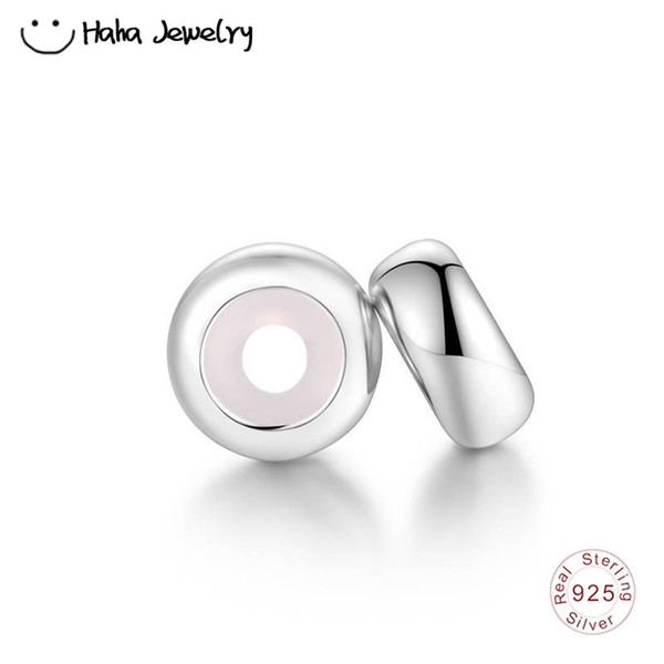 Haha Jewelry 2PCS Plain Rubber Stopper Bead 100% 925 Sterling Silver Spacer Charm Compatible for Pandora Charms Bracelet Making