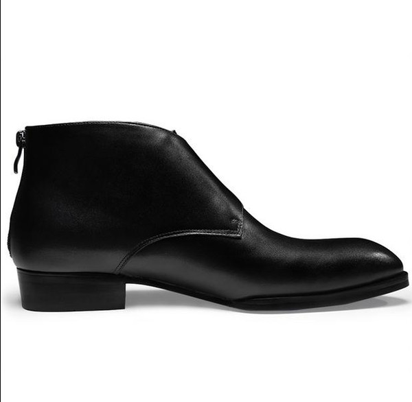 Autunm Winter neue Mens echtes Leder Stiefel Mode Schnalle spitz High Top Businsess casual Kleid Schuhe Männer Stiefeletten 44