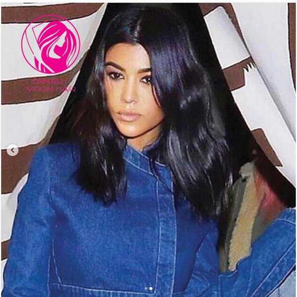 Fantasy Shoulder Length Natural Wave Lace Front Human Hair Wigs 130% Remy Hair Lace Wig For Women Pre Plucked 13*4 Middle Parting