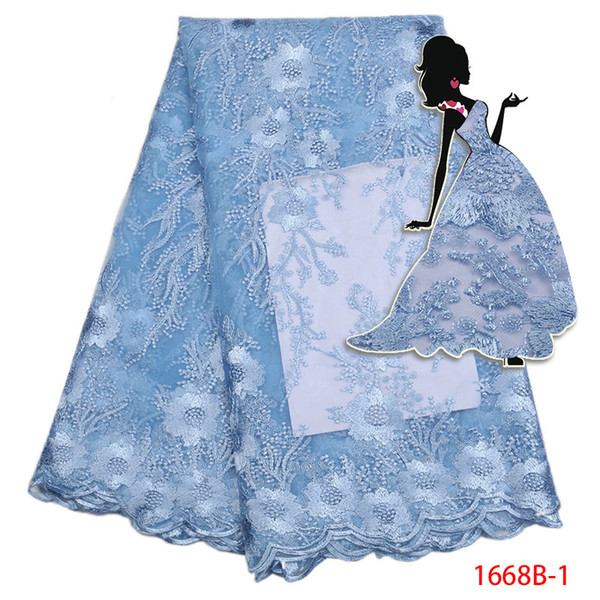 2017 New Design 3D Good Quality Chiffon Flower Trim Party African Lace Fabric Nice Tulle lace aplique for dress AMY1668B-2