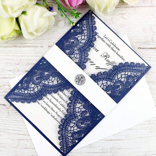 Compre Nuevas Tarjetas De Invitaciones De Corte Láser Azul Marino Con Cristal Para Boda Compromiso De Despedida De Soltera Graduación De Cumpleaños A