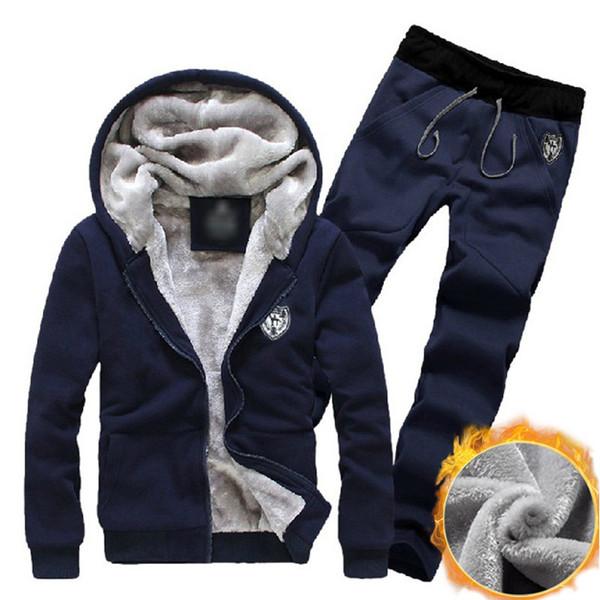 2018 Winter Thick Men Sport Suit Jogger Set Fitness Tracksuit Running Sport Hoodie Sportswear Warm Hooded Jackets 2 Pcs Jumpsuit