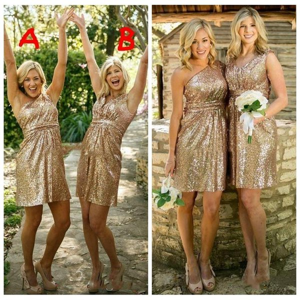 2018 Short Gold Bridesmaid Dresses For Junior Bling Sequins Ruffle One shoulder v neck Maid of honor Gowns Custom made