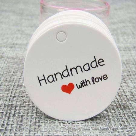 Jewelry Kraft Hang Tag DIY Hande Made with Love Tag Hand Made Tag For Gift Packing Box Labels Custom Logo Cost Extra
