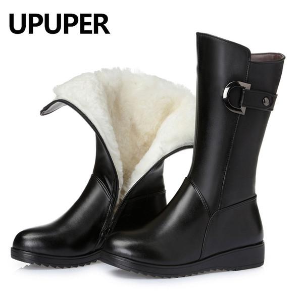 28fcb7c07 Genuine Leather Wool Warm Winter Boots Women Black Zipper Mid Tube Women'S  Snow Boots Wedges Non Slip Fashion Women Shoes Big Si Boys Boots Fashion ...