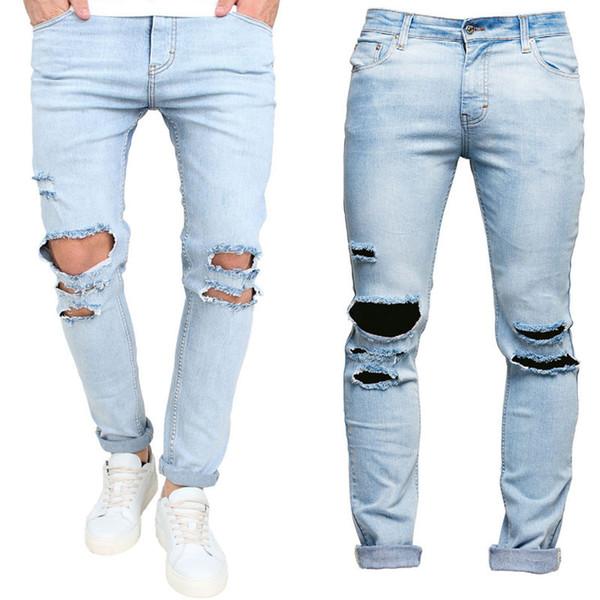Erkek Pantolon İnce Pantolon Sıska Pist Düz Elastik Denim Pantolon Yırtık Kot Yırtık