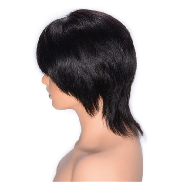 Malaysian Human Hair Lace Front Wig with Bang Natural Color Straight Hair Wig Swiss Lace 8 inch Ping
