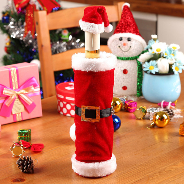 2018 Christmas Wine Bottle Set Santa Claus Belt Buckle Design Decor Cover Cap Kitchen Decoration For Christmas Dinner Party