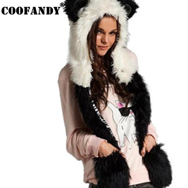 Unisex Winter 58 83 Street 23 Casual Scarf W 22 Warm 60cm Casual Faux Hooded Fur Outdoor L Gloves Men 62inch Women