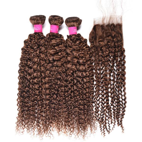 Paquetes de cabello humano de la Virgen brasileña Extensiones de cabello rizado rizado marrón 3 Paquetes con cierre frontal de encaje # Trama de cabello marrón teje