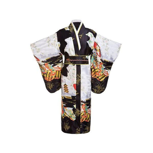 Black Woman Lady Japanese Tradition Yukata Kimono Bath Robe Gown With Obi Flower Vintage Evening Party Dress Cosplay Costume