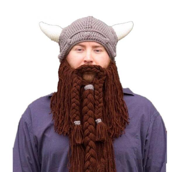 c0f5c18b Men s Barbarian Vagabond Viking Beard Beanie Horn Hats Casual Handmade  Winter Warm Cool Gifts Funny Gag Christmas Cap