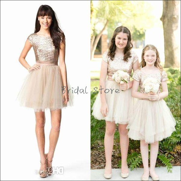 Bling Rose Gold Sequins Junior Bridesmaid