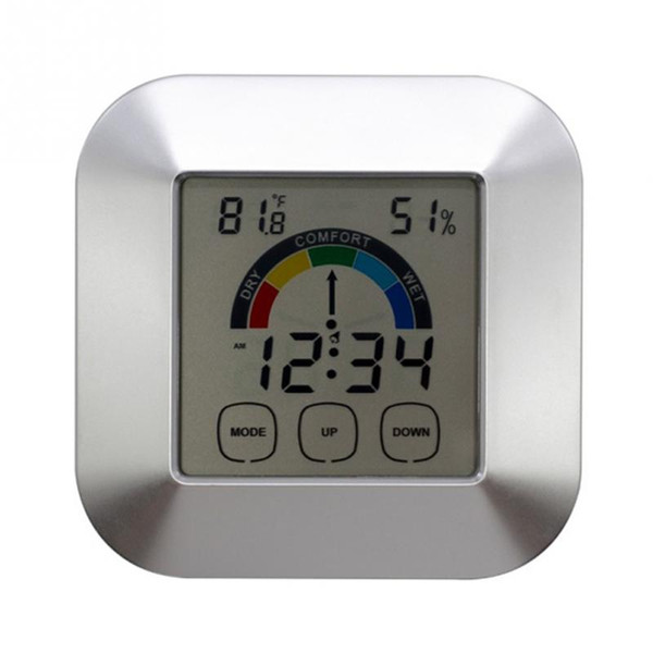 free shipping New Touch screen timer alarm temperature and humidity meter Electronic Weather Station Clock AQI-651
