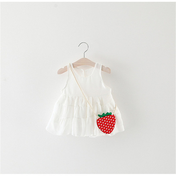 Cola baby girls dress summer strawberry printing dress for childrens wear party princess dresses toddler girl cotton clothes