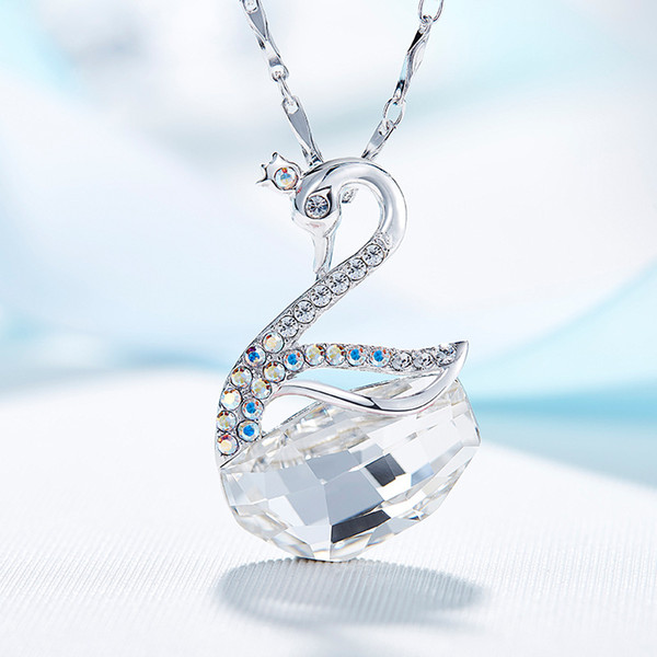 925 Sterling Silver Pendant Necklace Swan Lake Animal Designed Pendant Necklace Made with Swarovski Crystals Fashion Jewelry