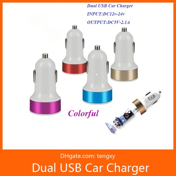 Dual Usb Car Charger Adapter 2 usb Port 2.1+1A Smart Car charger for Iphone Samsung Phone car charging accessories