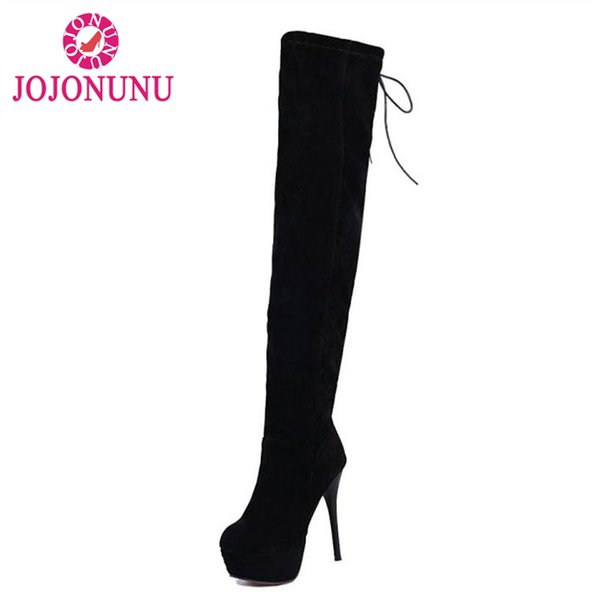 JOJONUNU donne piattaforma tacco alto stivali lace up gregge punta rotonda scarpe tacco sottile donne calde scarpe invernali sexy taglia 33-43