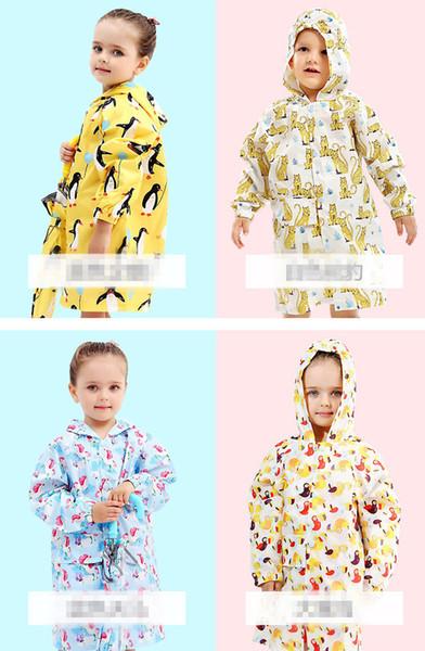 Kids Raincoats Cartoon Waterproof poncho Girls Boy Rain Coat Suit Children K0301