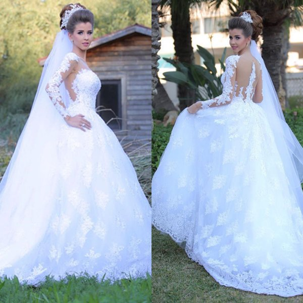 Beach White Fairytale Wedding Dresses Ball Gown Sheer Neckline Applique Beaded Bridal Gowns Long Sleeve Country Dropped Waist Photography