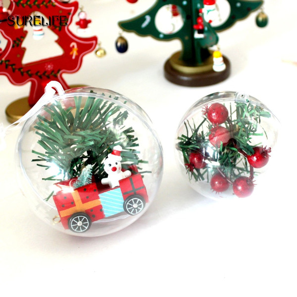 100pcs 5cm Ball Christmas Tree Decor Ornament Type Box Transparent Plastic Craft Christmas Gift Boxes plastic ball