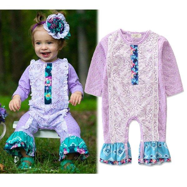 Bebek Kız Rompers Moda Kız Çiçek Dantel Patchwork Uzun Kollu Tulum Bebek Sonbahar Mor Romper Giysileri 0-24 M