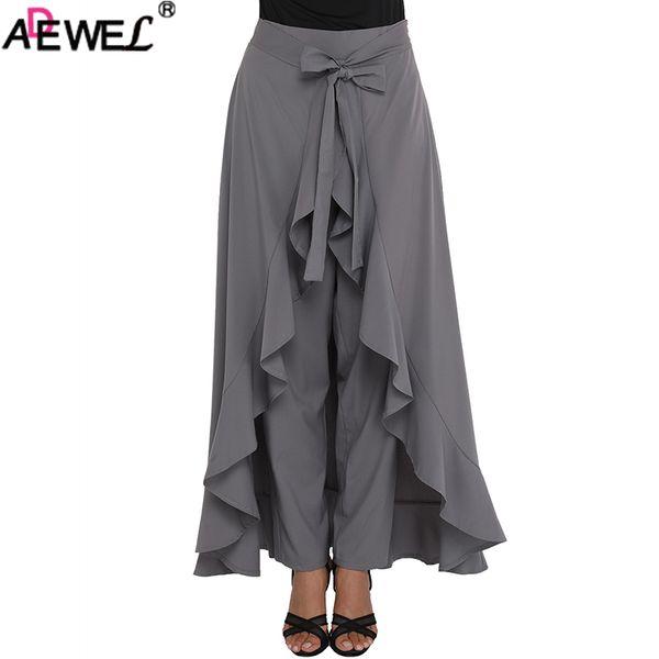 b141a09aa4 ADEWEL 2018 New Chic Chiffon Women Maxi Skirt & Pants Tie Waist Ruffle  Skirted Palazzo Pants