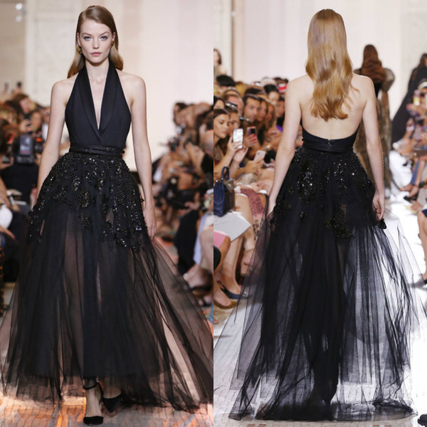 Elie Saab Black Prom Dresses A Line Halter Neck Sequins Beads Illusion Tulle Evening Dress Floor Length Party Dresses with Sexy Backless
