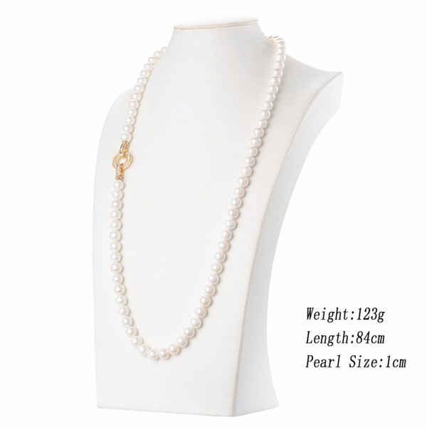 2017 Fashion Pearl Strand Chains Long Necklace Shell Quality Luxury Gold Color Pendants Necklaces For Women Jewelry