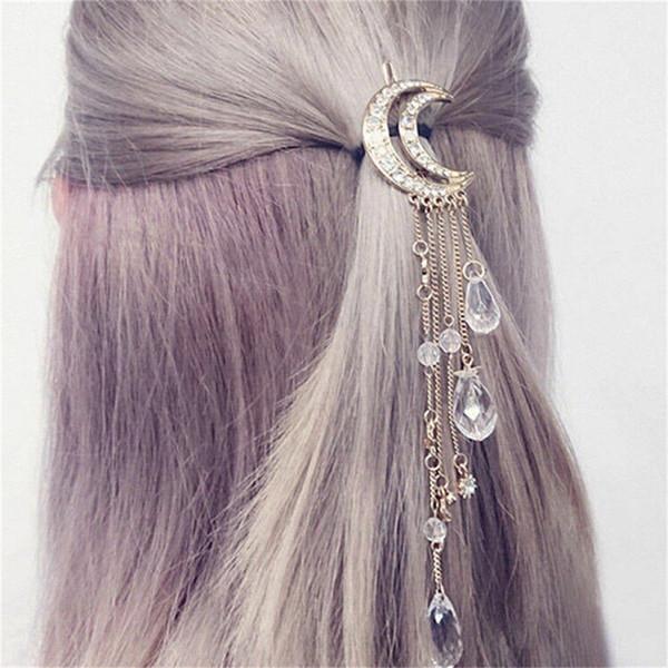 Moon Crystal Rhinestone Beads Dangle Hairpin Hair Clip Women Bridal Jewelery ZP